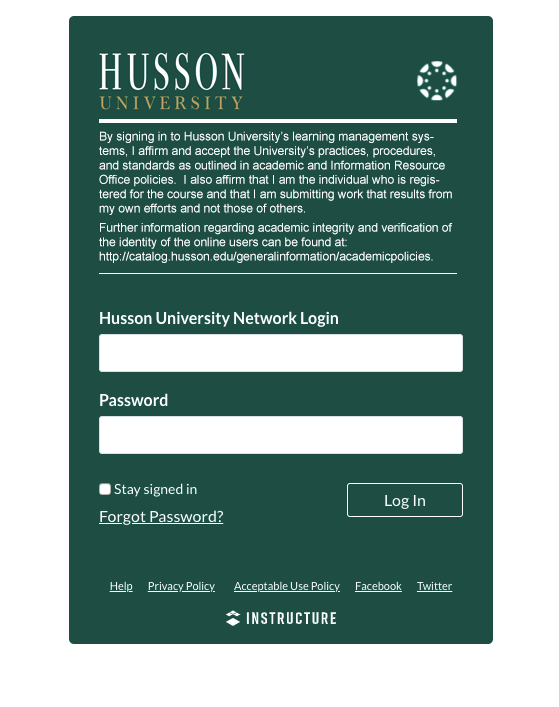 Husson Canvas Login page