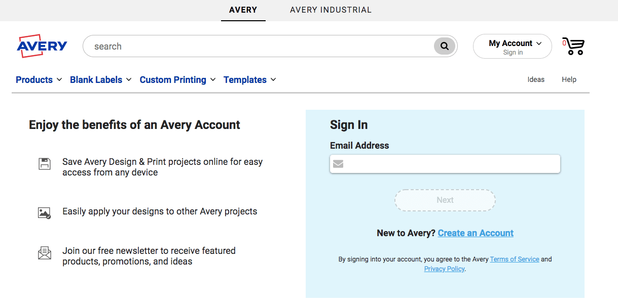 myavery login or sign in with email address
